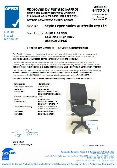 Alpha AL350 Low and High Back Standard Seat