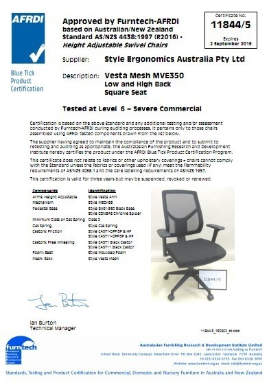 Vesta Mesh MVE350 Low and High Back Square Seat