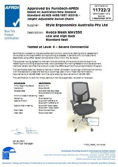 Avoca mesh MAV350 low and high Back Standard Seat