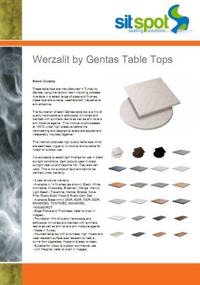 Werzalit by Gentas Table Tops